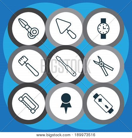 Tools Icons Set. Collection Of Pliers, Clippers, Alkaline And Other Elements. Also Includes Symbols Such As Spatula, Trowel, Location.