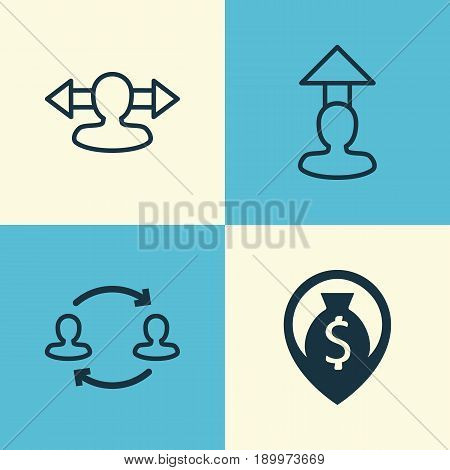 Hr Icons Set. Collection Of Destination, Reverse, Money Navigation And Other Elements. Also Includes Symbols Such As Team, Reverse, Map.