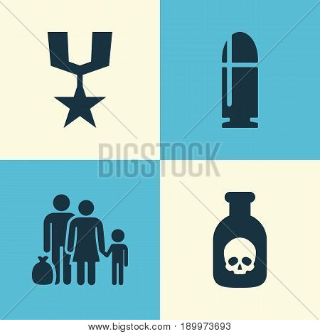 Combat Icons Set. Collection Of Fugitive, Danger, Slug And Other Elements. Also Includes Symbols Such As Bullet, Danger, People.