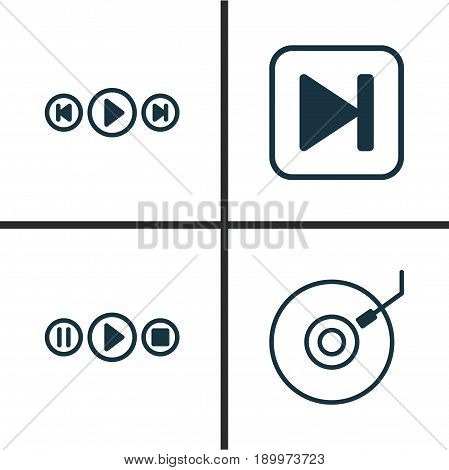 Audio Icons Set. Collection Of Gramophone, Skip Song, Song UI And Other Elements. Also Includes Symbols Such As Button, Gramophone, Media.