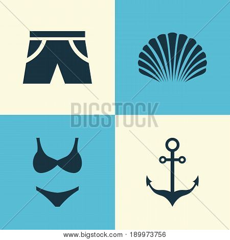 Sun Icons Set. Collection Of Conch, Bikini, Smelting And Other Elements. Also Includes Symbols Such As Smelting, Swimming, Shorts.