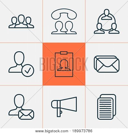 Network Icons Set. Collection Of Internet Site, Online Letter, Confirm Profile And Other Elements. Also Includes Symbols Such As People, Mailbox, Society.