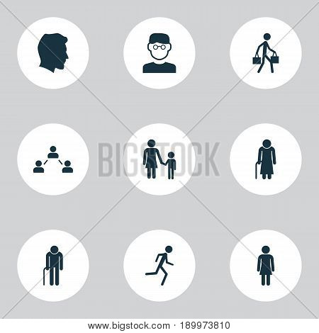 Human Icons Set. Collection Of Grandpa, Scientist, Old Woman Elements. Also Includes Symbols Such As Scientist, Smart, Courier.