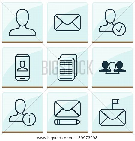 Network Icons Set. Collection Of Privacy Information, Profile Data, Edit Mail And Other Elements. Also Includes Symbols Such As Profile, Mailing, Human.