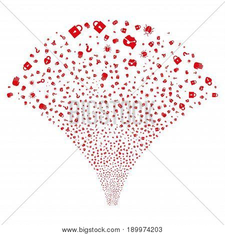 Source of secrecy symbols icons. Vector illustration style is flat red iconic symbols on a white background. Object fountain organized from confetti design elements.