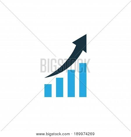 Increasing Diagram Colorful Icon Symbol. Premium Quality Isolated Growing Chart Element In Trendy Style.