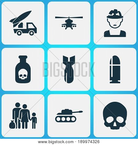 Warfare Icons Set. Collection Of Cranium, Ordnance, Panzer And Other Elements. Also Includes Symbols Such As Oficer, Rockets, Fugitive.