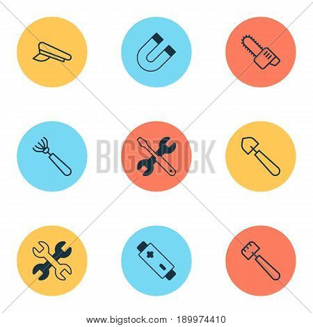 Apparatus Icons Set. Collection Of Cop Cap, Spatula, Spanner And Other Elements. Also Includes Symbols Such As Spud, Spatula, Repair.