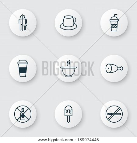 Icons Set. Collection Of Fried Poultry, No Drinking, Soda And Other Elements. Also Includes Symbols Such As Drink, Cup, Restroom.