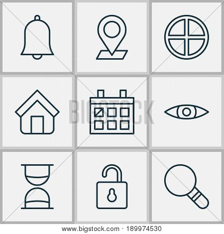 Web Icons Set. Collection Of Pinpoint, Research, Glance And Other Elements. Also Includes Symbols Such As Alert, Check, Pinpoint.