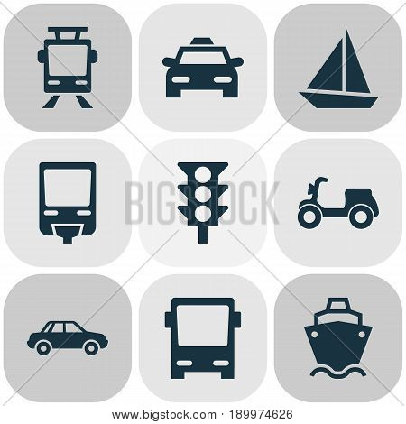 Transport Icons Set. Collection Of Omnibus, Cab, Automobile And Other Elements. Also Includes Symbols Such As Automobile, Light, Tram.