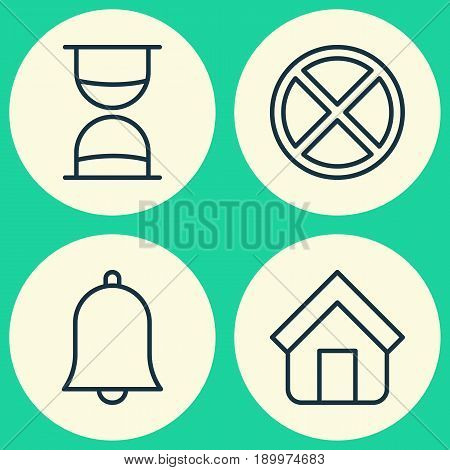 Network Icons Set. Collection Of Estate, Exit, Hourglass And Other Elements. Also Includes Symbols Such As Tabernacle, Sand, Clock.