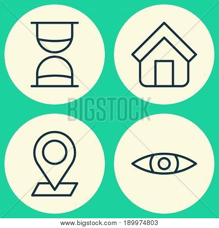 Icons Set. Collection Of Glance, Estate, Hourglass And Other Elements. Also Includes Symbols Such As Eye, Browse, Shelter.