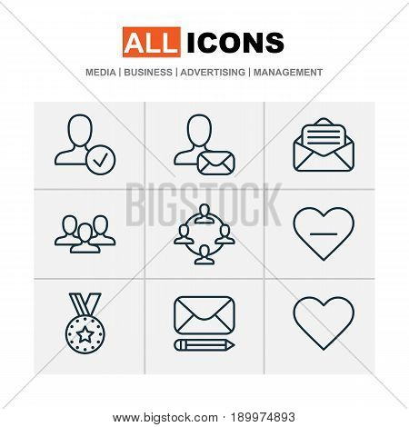 Network Icons Set. Collection Of Medal, Unfollow Icon, Read Message And Other Elements. Also Includes Symbols Such As Open, Delete, Medal.