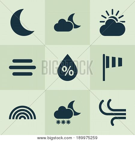 Air Icons Set. Collection Of Moisture, Breeze, Haze And Other Elements. Also Includes Symbols Such As Moon, Weather, Wind.