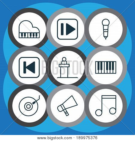 Audio Icons Set. Collection Of Microphone, Octave, Rostrum And Other Elements. Also Includes Symbols Such As Music, Keyboard, Octave.