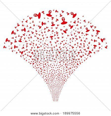 Source of unknown person symbols. Vector illustration style is flat red iconic symbols on a white background. Object salute created from confetti icons.
