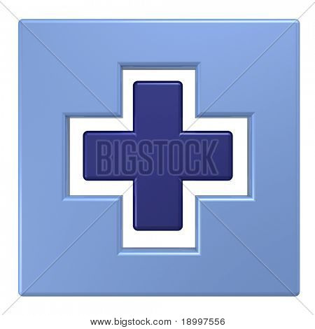 Blue square with cross isolated on white. Computer generated 3D photo rendering.