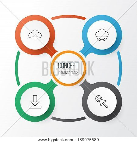 Web Icons Set. Collection Of Cursor Tap, Login, Data Synchronize And Other Elements. Also Includes Symbols Such As Cloud, Login, Button.