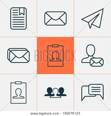 Social Icons Set. Collection Of Message, Identity Card, Group And Other Elements. Also Includes Symbols Such As Chatting, Messaging, Postbox.