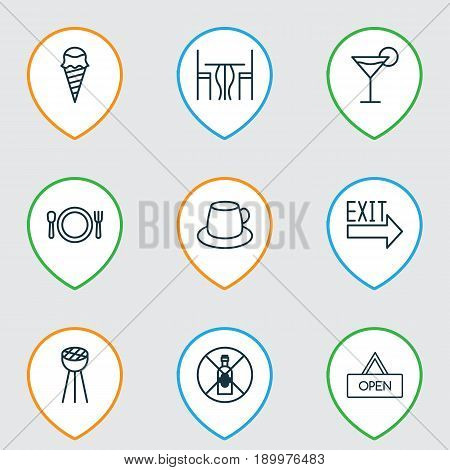 Restaurant Icons Set. Collection Of Dessert, Dining Room, Coffee Cup And Other Elements. Also Includes Symbols Such As Table, Placard, Sign.