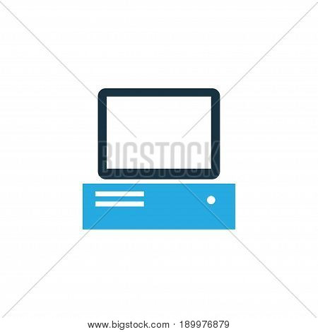 Computer Colorful Icon Symbol. Premium Quality Isolated PC Element In Trendy Style.