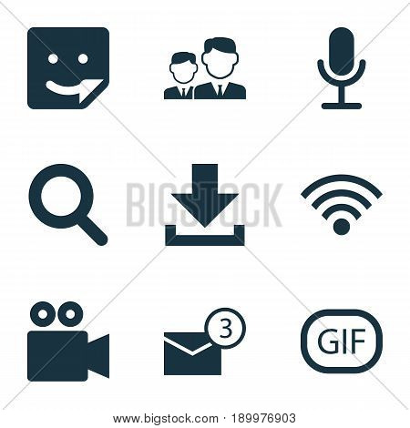 Media Icons Set. Collection Of Inbox, Wireless Connection, Camcorder And Other Elements. Also Includes Symbols Such As Inbox, Smile, Magnifier.