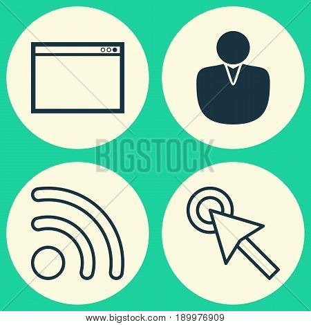 Internet Icons Set. Collection Of Account, Wifi, Cursor Tap And Other Elements. Also Includes Symbols Such As Mouse, Application, Wifi.