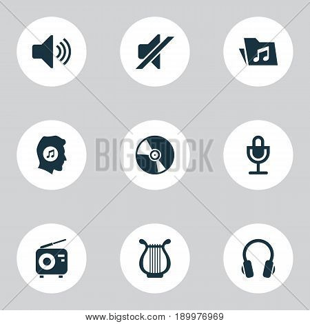 Music Icons Set. Collection Of Earphone, Cd, Meloman And Other Elements. Also Includes Symbols Such As Mic, Silent, Headphone.