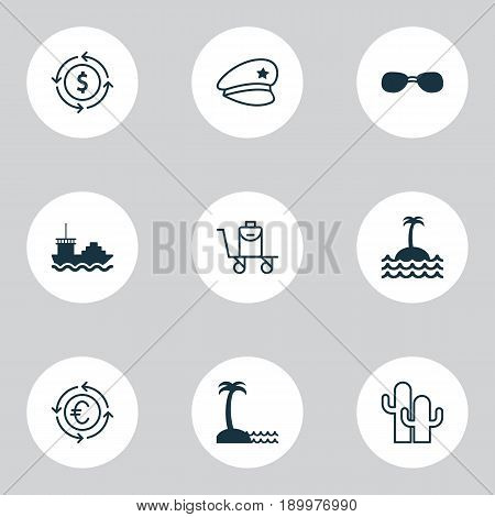 Tourism Icons Set. Collection Of Island Beach, Currency Recycle, Money Recycle Elements. Also Includes Symbols Such As Ship, Conveyor, Cactus.