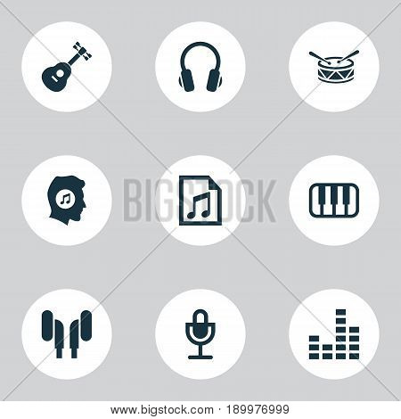 Multimedia Icons Set. Collection Of Mike, Earmuff, Meloman And Other Elements. Also Includes Symbols Such As Note, Piano, Equalizer.