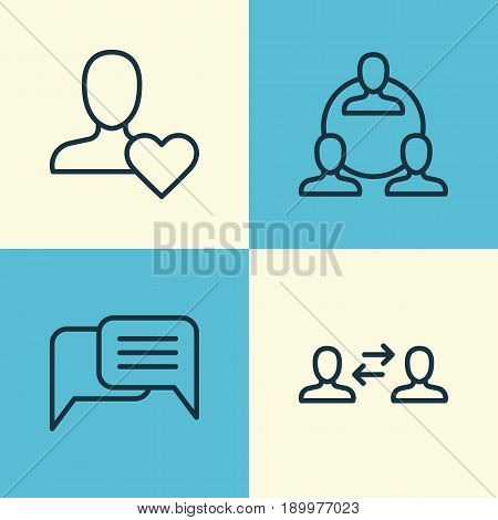 Communication Icons Set. Collection Of Business Exchange, Favorite Person, Teamwork And Other Elements. Also Includes Symbols Such As Heart, Messaging, Interaction.