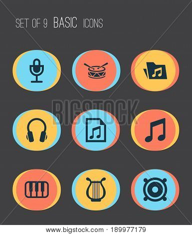 Audio Icons Set. Collection Of Earphone, Octave, Megaphone And Other Elements. Also Includes Symbols Such As Music, Microphone, Sound.
