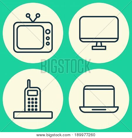 Device Icons Set. Collection Of Call, Notebook, Computer Monitor And Other Elements. Also Includes Symbols Such As Screen, Laptop, Monitor.