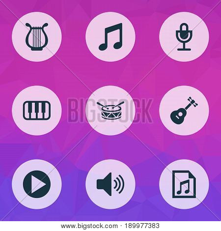 Multimedia Icons Set. Collection Of Instrument, Mike, Start And Other Elements. Also Includes Symbols Such As Volume, Start, Microphone.