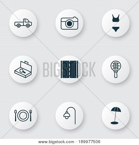 Tourism Icons Set. Collection Of Coast Parasol, Bathing Costume, Vehicle Car And Other Elements. Also Includes Symbols Such As Street, Bikini, Restaurant.