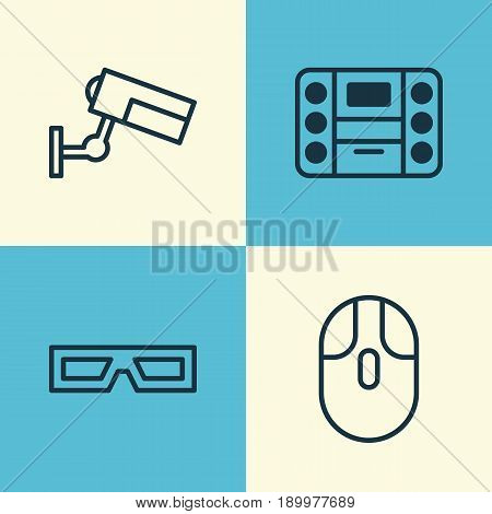 Gadget Icons Set. Collection Of Cursor Mouse, Surveillance, Boombox And Other Elements. Also Includes Symbols Such As Surveillance, Mouse, Camera.