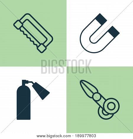 Apparatus Icons Set. Collection Of Carpentry, Firefighter, Clippers And Other Elements. Also Includes Symbols Such As Fire, Firefighter, Saw-Blade.