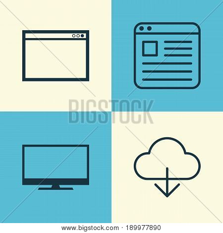 Web Icons Set. Collection Of Display, Save Data, Program And Other Elements. Also Includes Symbols Such As Display, Cloud, Download.