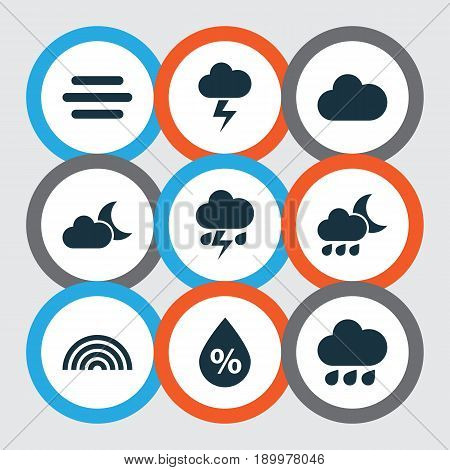 Weather Icons Set. Collection Of Rainy, Lightning, Moonlight And Other Elements. Also Includes Symbols Such As Cold, Rainbow, Drop.