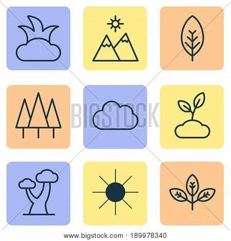 Ecology Icons Set. Collection Of Landscape, Sunshine, Plant Elements. Also Includes Symbols Such As Overcast, Gardening, Sunlight.