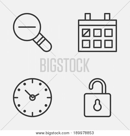Network Icons Set. Collection Of Calendar, Unlock, Zoom Out And Other Elements. Also Includes Symbols Such As Open, Watch, Out.