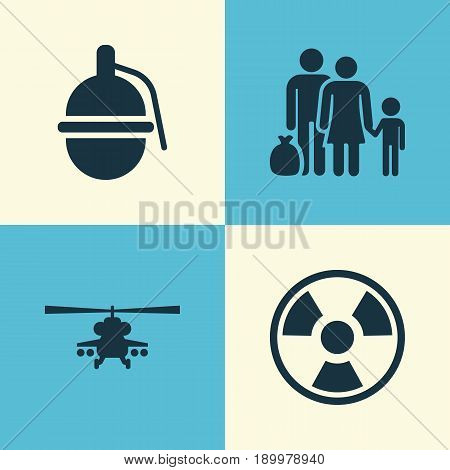 Warfare Icons Set. Collection Of Fugitive, Chopper, Bombshell And Other Elements. Also Includes Symbols Such As People, Bio, Refugee.