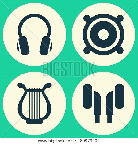 Music Icons Set. Collection Of Earphone, Lyre, Earmuff And Other Elements. Also Includes Symbols Such As Speaker, Headphone, Lyre.