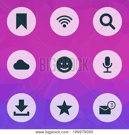 Social Icons Set. Collection Of Down Arrow, Wireless Connection, Flag And Other Elements. Also Includes Symbols Such As Wireless, Video, Mail.