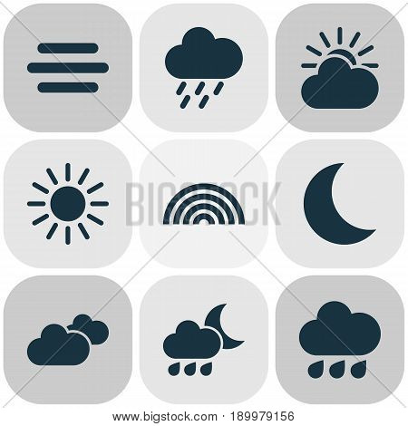 Air Icons Set. Collection Of Douche, Sun-Cloud, Haze And Other Elements. Also Includes Symbols Such As Overcast, Moonlight, Hate.