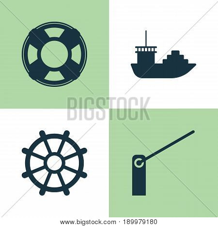 Delivery Icons Set. Collection Of Boat Helm, Tanker, Lifebuoy And Other Elements. Also Includes Symbols Such As Barricade, Tanker, Rescue.