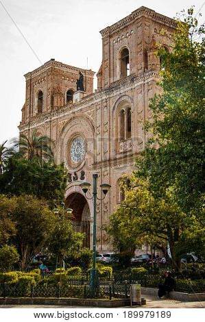 The front part of Cathedral of the Immaculate Conception in Cuenca in Ecuador