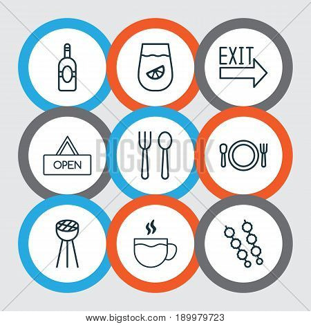Restaurant Icons Set. Collection Of Doorway, Lemonade, Hooch And Other Elements. Also Includes Symbols Such As Grill, House, Barbecue.