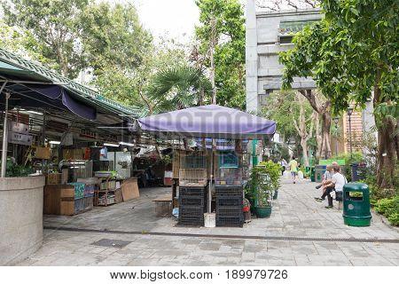 KOWLOON HONG KONG - APRIL 21 2017: Yuen Po Street Bird Garden at Morning in Kowloon Hong Kong.